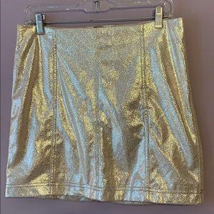 Golden shimmery free people skirt